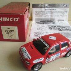 Slot Cars: RENAULT CLIO 16 V., 100% ORIGINAL NINCO AÑO 1993, CAJA E INSTRUCCIONES, EXCELENTE ESTADO. Lote 61603652