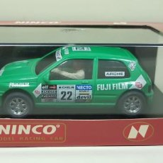 Slot Cars: J-RENAUT CLIO 16 V FUJI REF- 50111 NINCO SLOT CAR NUEVO DIFICIL. Lote 143624186