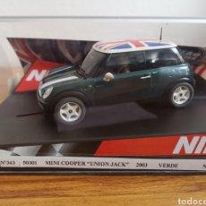 Slot Cars: COCHE SCALEXTRIC DE NINCO MINI COOPER UNIÓN JACK VERDE. REF. 50301 NUEVO. Lote 188580375