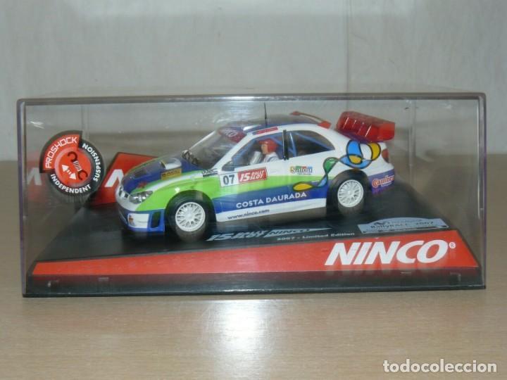 SCALEXTRIC NINCO 15 RALLY SLOT 2007 LTD. EDIT. COCHE SUBARU WRC CAT-C.DAURADA MOVISTAR CAR (Juguetes - Slot Cars - Ninco)