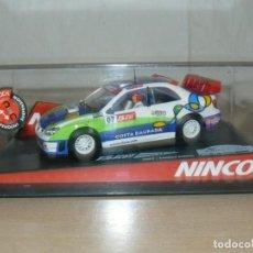 Slot Cars: SCALEXTRIC NINCO 15 RALLY SLOT 2007 LTD. EDIT. COCHE SUBARU WRC CAT-C.DAURADA MOVISTAR CAR. Lote 198323810