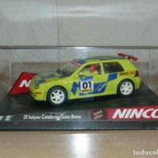 Slot Cars: SCALEXTRIC NINCO IX RALLY SLOT VW VOLKSWAGEN GOLF MOVISTAR 37 RALLY RACC CATALUNYA COSTA BRAVA 01. Lote 198333087