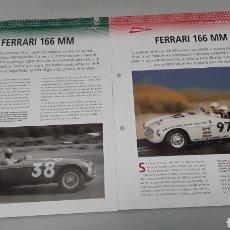 Slot Cars: -FERRARI 166 MM -FICHA TECNICA +FICHA DEL MODELO NINCO- 4 PÁGINAS. Lote 210441911