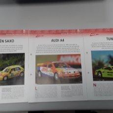 Slot Cars: -3 FICHAS DE MODELOS NINCO - CITROEN SAXO TUNIG -AUDI A4 -TUNIG. Lote 210443722