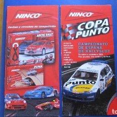 Slot Cars: NINCO ORIGINAL: 2 CATALOGOS DESPLEGABLES COPA PUNTO Y CIRCUITOS. Lote 212588205