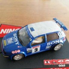 Slot Cars: NINCO VW GOLF AZUL. SONY. REF.50228. Lote 233269890