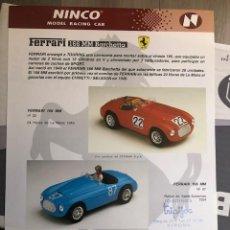 Slot Cars: FOLLETO ORIGINAL NINCO. FERRARI 166 MM BARCHETTA- : HOJA INFORMATIVA / FICHA TECNICA. Lote 292722213