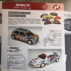 Slot Cars: FOLLETO ORIGINAL NINCO. RENAULT CLIO 16V - TOYOTA CELICA GT- : HOJA INFORMATIVA / FICHA TECNICA. Lote 292741708
