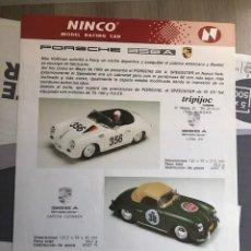 Slot Cars: FOLLETO ORIGINAL NINCO. PORSCHE 356A- : HOJA INFORMATIVA / FICHA TECNICA. Lote 292755353