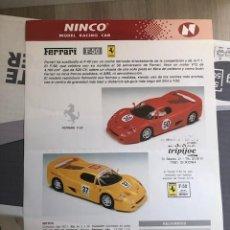 Slot Cars: FOLLETO ORIGINAL NINCO. FERRARI F50 - : HOJA INFORMATIVA / FICHA TECNICA. Lote 292764948
