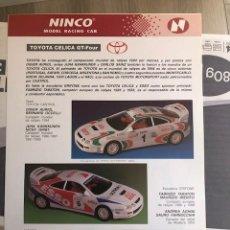 Slot Cars: FOLLETO ORIGINAL NINCO. TOYOTA CELICA GT FOUR - HOJA INFORMATIVA / FICHA TECNICA. Lote 292802883
