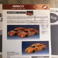 Slot Cars: FOLLETO ORIGINAL NINCO. ALFA ROMEO 155 VBTI - HOJA INFORMATIVA / FICHA TECNICA. Lote 292820128