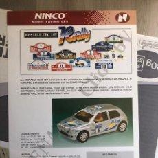 Slot Cars: FOLLETO ORIGINAL NINCO. RENAULT CLIO 16V RALLY - HOJA INFORMATIVA / FICHA TECNICA. Lote 292837598