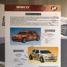 Slot Cars: FOLLETO ORIGINAL NINCO. RENAULT CLIO 16V - HOJA INFORMATIVA / FICHA TECNICA. Lote 292854773