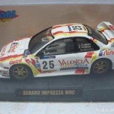Slot Cars: SCALEXTRIC TEAM SLOT REF: 10605 - COCHE DE CARRERAS SUBARU IMPREZZA WRC 25 VALENCIA. Lote 114776551