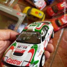 Slot Cars: ANTIGUO COCHE DE RALLY TEAM SLOT TOYOTA CÉICA WRC ST 185 CASTROL - JUHA KANKKUNEN - SCX SCALEXTRIC. Lote 267331579