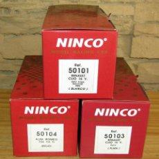 Slot Cars: SCALEXTRIC NINCO - LOTE DE 3 CAJAS VACIAS - CON CARTÓN INTERIOR - CLIO, ALFA ROMEO. Lote 274319108