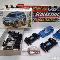 Slot Cars: SCALEXTRIC MAQUETA TOYOTA HILUX Y 2 CHASIS BASCULANTES NINCO NC-7 RAIDER NUEVOS A ESTRENAR. Lote 284187023