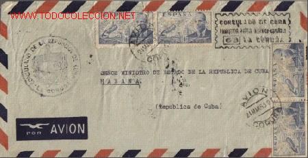 SOBRE FILATELICO MANDADO DEL CONSULADO DE CUBA EN LA CORUÑA. DIRIGIDO AL SEÑOR MINISTRO DE EST. CUBA (Sellos - Historia Postal - Sello Español - Sobres Circulados)