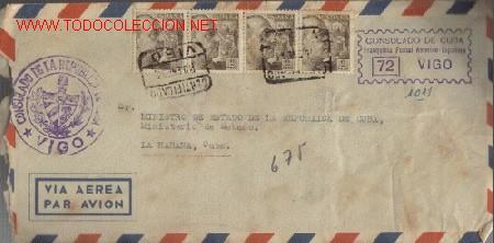 SOBRE FILATELICO MANDADO DEL CONSULADO DE CUBA EN VIGO. DIRIGIDO AL SR. MINISTRO DE EST. CUBA (Sellos - Historia Postal - Sello Español - Sobres Circulados)