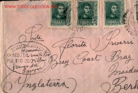 SOBRE CENSURA MILITAR PUESTO DE VILLA FRANCA DEL CAMPO 1938 .. MEDRANO (LOGROÑO) A INGLATERRA (Sellos - Historia Postal - Sello Español - Sobres Circulados)