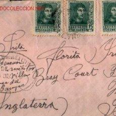 Sellos: SOBRE CENSURA MILITAR PUESTO DE VILLA FRANCA DEL CAMPO 1938 .. MEDRANO (LOGROÑO) A INGLATERRA . Lote 21345268