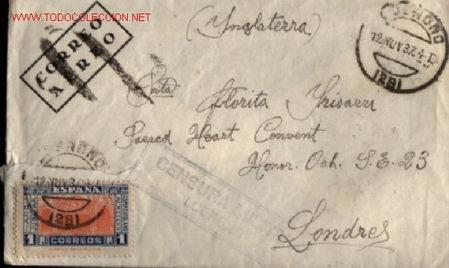 SOBRE CENSURA MILITAR LOGROÑO 1937 .. SELLO DE CORREO AEREO (Sellos - Historia Postal - Sello Español - Sobres Circulados)