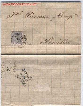 CARTA CIRCULADA DE ANTEQUERA A SEVILLA (Sellos - Historia Postal - Sello Español - Sobres Circulados)