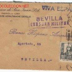 Sellos: CARTA CIRCULADA EL 02/11/1937 DE SAN JUAN DE SAN JUAN DE AZNALFARACHE (SEVILLA) MEMBRETE DE LA CERÁM. Lote 20886925