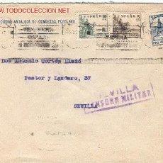 Sellos: CARTA CIRCULADA EL 03/10/1937 EN SEVILLA. CON MEMBRETE SOCIEDAD ANDALUZA DE CEMENTOS PORTLAND. Lote 20886924