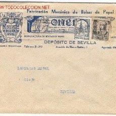 Sellos: CARTA CIRCULADA EL 14/05/1937 DE VILLAVA (NAVARRA) A SEVILLA. MEMBRETE PUBLICITARIO DE BOLSAS VILLA. Lote 20876840