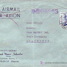 Sellos: CARTA COMERCIAL MANUEL MARCO SALVADOR CIRCULADA IMPRESOS 1953 VALENCIA-INGLATERRA POR AVION. MPM.. Lote 12023102