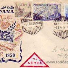 Sellos: CARTA CIRCULADA POR CORREO AEREO 1950 (CONMEMORACION CENTENARIO SELLO ESPAÑOL) DE MADRID A USA. MPM. Lote 12056467