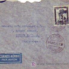 Selos: AMBULANTE EN CARTA CIRCULADA POR AVION 1935 VIA PARIS DE MADRID A LONDRES. TRANSITO. RARA.. Lote 26052877