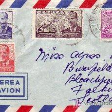 Sellos: CARTA CIRCULADA POR AVION ABRIL 1952 DE CANARIAS A ESCOCIA CON FRANQUEO CUATRICOLOR LA CIERVA.. Lote 12091529