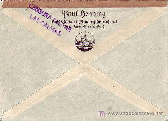 Sellos: CARTA CIRCULADA POR CORREO AEREO 1938 DE LAS PALMAS A ALEMANIA CON SELLOS ELP CANARIAS. CM. EL CID. - Foto 2 - 23389927