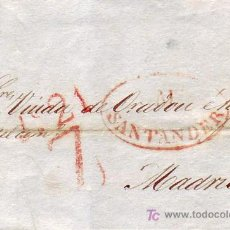 Sellos: CARTA COMPLETA CIRCULADA DE SANTANDER A MADRID EN 1836 CON MARCA OVALADA TINTA ROJA.. Lote 25693198