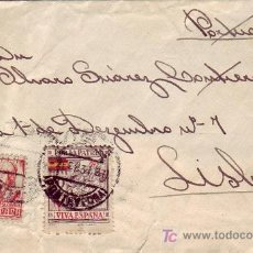 Sellos: POR LA PATRIA 10 CTS EN CARTA CIRCULADA 1937 DE VIGO (PONTEVEDRA) A LISBOA (PORTUGAL). LLEGADA. RARA. Lote 27521438