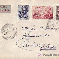 Sellos: DON QUIJOTE Y DE LA CIERVA EN CARTA CIRCULADA 1947 POR CORREO AEREO DE FIGUERAS (GERONA) A HOLANDA.. Lote 12665379