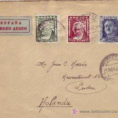 Sellos: VIÑETA MANRESA EN CARTA CIRCULADA POR CORREO AEREO 1947 DE FIGUERAS (GERONA) A HOLANDA,. Lote 25560018