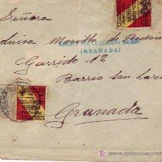 Sellos: RARA MARCA AZUL ABIERTA POR LA CENSURA MILITAR EN CARTA FRANQUEO CARIDAD ESPECIAL MOVIL 1937 GRANADA. Lote 25662298