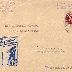 Sellos: FRONTAL DE CARTA CIRCULADA DE SAN SEBASTIAN (GUIPUZCOA) A SEVILLA CON 10 CTS. AUXILIO INVIERNO. MPM.. Lote 12280105