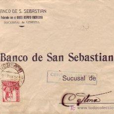 Sellos: CARTA COMERCIAL (BANCO DE SAN SEBASTIAN) 1938 DE AZPEITIA (GUIPUZCOA) A CESTONA CENSURA MILITAR. MPM. Lote 12680868
