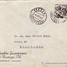 Sellos: CARTA COMERCIAL (PAPELERA GUIPUZCOANA DE ZICUÑAGA) CIRCULADA 1942 HERNANI (GUIPUZCOA)-BARCELONA MPM. Lote 3229797