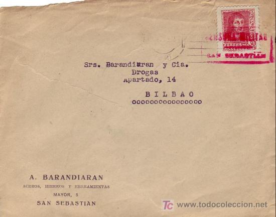 FRONTAL DE CARTA COMERCIAL (A BARANDIARAN) 1938 SAN SEBASTIAN (GUIPUZCOA)-BILBAO. CM TINTA ROJA. MPM (Sellos - Historia Postal - Sello Español - Sobres Circulados)