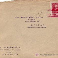 Sellos: FRONTAL DE CARTA COMERCIAL (A BARANDIARAN) 1938 SAN SEBASTIAN (GUIPUZCOA)-BILBAO. CM TINTA ROJA. MPM. Lote 3229808
