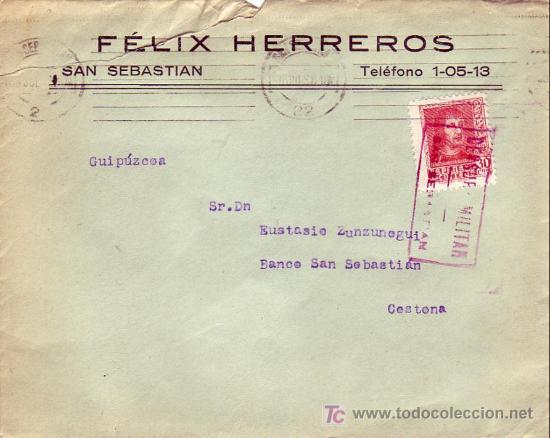 CARTA COMERCIAL (FELIX HERREROS) 1938 DE SAN SEBASTIAN (GUIPUZCOA) A CESTONA. CM TINTA ROJA. MPM. (Sellos - Historia Postal - Sello Español - Sobres Circulados)