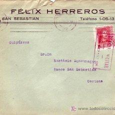Sellos: CARTA COMERCIAL (FELIX HERREROS) 1938 DE SAN SEBASTIAN (GUIPUZCOA) A CESTONA. CM TINTA ROJA. MPM.. Lote 12826598