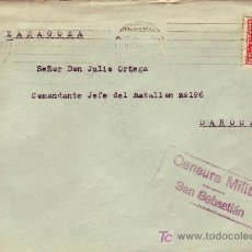 Sellos: ISABEL LA CATOLICA Y CM EN CARTA CIRCULADA 1937 SAN SEBASTIAN GUIPUZCOA-DAROCA (ZARAGOZA). MPM.. Lote 12826600