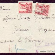 Sellos: CARTA CIRCULADA 1938 DE ZARAUZ (GUIPUZCOA) A FRANCIA. LLEGADA. CENSURA MILITAR.. Lote 13912990